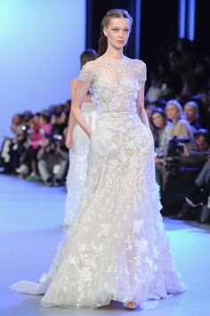 Designer wedding dress ideas from Couture fashion week - Ellie Saab Catwalk Show - lace wedding dress - Fashion and weddings - trends - hand...