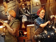 """Rosie the Riveter by TamasGaspar  Illustration for the puzzle game """"Family Mystery - The Story of Amy""""."""