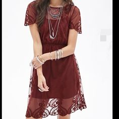 Floral embroidered mesh dress See the last pic. Color: Rust. F21 Dresses Midi