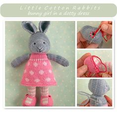 Bunny Girl In A Dotty Dress - Purchased Knitted Pattern - (ravelry)