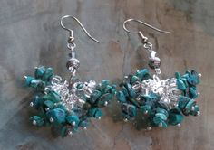 Natural Turquoise Chip and Swarovsky Crystal by GypsyDreamerCafe, $26.50