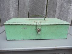 Vintage Green Metal Tool Box Industrial Storage