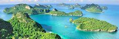 Ang Thong Nationalpark Der Ang Thong Nationalpark liegt nur wenige Kilometer von Koh Samui entfernt und ist ein beeindruckendes Naturwunder. Viele kleine Inseln und Riffe gehören zum Nationalpark und warten mit einer grandiosen Flora und Fauna auf. Ein Besuch ist im Rahmen eines Tagesausflugs möglich. Dieser lässt sich in jedem Reisebüro auf der Insel buchen und kostet ab 2500 Baht aufwärts.