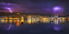 Storm is coming - thunderstorm over Portugalete at night Country Landscaping, Basque Country, Thunderstorms, Sunset, Landscape, Nature, Photography, Outdoor, Bilbao