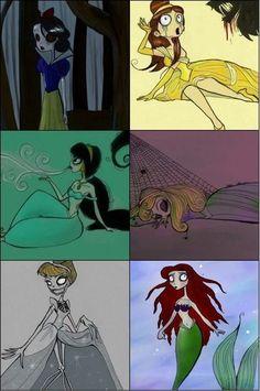 """siempresarcastico: """"—Las princesas de Disney versión Tim Burton. siempresarcastico """""""