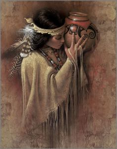"Lee Bogle Handsigned and Numbered Limited Edition Giclee on Canvas: ""The Vessel"" Artist: Lee Bogle Title: The Vessel Edition Size: Artist Handsigned and Numbered (S/N) to 250 Medium: Canvas Giclee - unstretched Image Size: 2 Native American Paintings, Native American Pictures, Native American Beauty, American Indian Art, Indian Paintings, American Indians, Native Indian, Native Art, Foto Art"