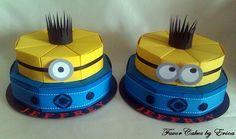 Minion Favor Box Cake - Caixas de lembrancinhas em formato de fatias de bolo! Acesse: https://pitacoseachados.wordpress.com #pitacoseachados