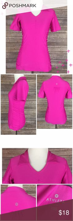 "Athleta Hot Pink Polo Shirt Short Sleeve XXS Athleta hot pink polo shirt - collared / ruched sides / short sleeves.  Women's size XXS.  Gently used. 91% polyester / 9% spandex. Super cute form fitting polo shirt!  Chest (armpit to armpit) 15"" / Sleeve (end to shoulder seam) 8"" / Length (back of neck to bottom hem) 23.5"". Athleta Tops"