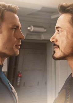 Its kind of funny that they are face to face when Robert Downey Jr. is 3 inches shorter than Chris Evans. I dont understand why it was necessary to make Robert wear lifts. His height is not really an issue. Marvel Dc, Marvel Funny, Marvel Heroes, Marvel Movies, The Avengers, Stony Avengers, Avengers Memes, Robert Downey Jr, Steve Rogers