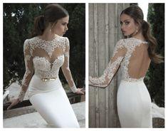 Sexy Long Sleeves Sheer Lace Sheath Prom Dresses Satin Evening Wedding Dresses