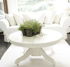 You can find tables like this second hand and make a great coffee table with some chalk paint. Just cut the pedestal base shorter at the top and reattach. We have several at display height here at TDU that are ready to customize for you. Round Coffee Table, Round Dining, Floor To Ceiling Bookshelves, Home And Living, Living Room, White Coffee, My Furniture, White Houses, Dinner Table