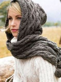 Free pattern. Might knit it a bit loner or make it into an infinity scarf with the hood.