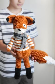 knittedcreations:A foxy crochet fox, cream stripes, rustic orange, grey scarf by LinaMarieDolls (90.00 USD) http://ift.tt/1jeGGvY  Had to share this totally adorable reblog with you all today. I'm obsessed with this little fox guy!