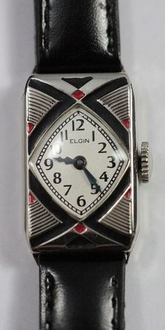1926 Elgin Art Deco Madame Jenny Parisienne Enamel Ladies Watch from vintagewatches on Ruby Lane