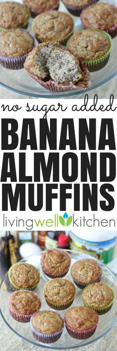 Banana Almond Muffins from are no sugar added muffins that are a delicious treat for breakfast, snack, or dessert. High in fiber & protein. Gluten free and dairy free recipe (dairy free muffins breakfast ideas) Protein Desserts, Protein Snacks, Healthy Protein, Healthy Snacks, Healthy Recipes, High Protein, Banana Recipes Diabetic, Healthy Sweets, Desserts For Diabetics