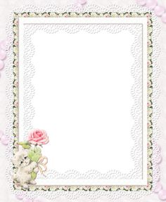 Kitty with Rose Transparent Frame