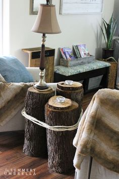 DIY Tree Stump Table - The Summery Umbrella