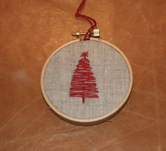 Christmas Tree Ornament- embroidery hoop.
