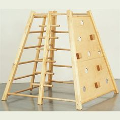 Actigym Tower: 4 sides: 5 rungs, 6 rungs, climbing wall, inclined Parrot ladder. The two sides with rungs are adjacent, enabling corner climbing. : L/W/H 160cm x 160cm x 163 cm : L/W/H (at top) 80cm x 80 cm : Weight 50kg : Made of solid wood, climbing wall in plywood