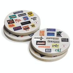 "This new set of four sandstone coasters features two designs with the logos of more than 20 Broadway musicals. An excellent gift idea for any occasion, each round coaster measures 4"" x 4"" and will add Broadway glamour to any party. $35"