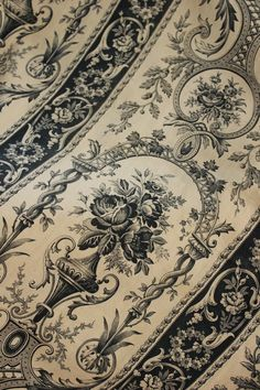 Antique Vintage Fabric French toile de jouy timeworn time touched faded cotton