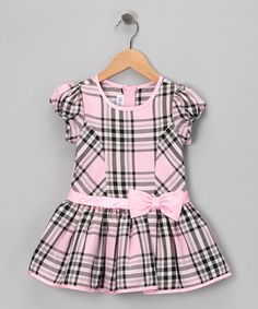 Take a look at this Pink Plaid Drop-Waist Bow Dress - Toddler by Gerson & Gerson on #zulily today!