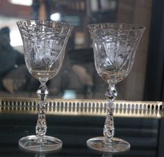 EXQUISITE Vintage Etched Crystal Tall Wedding Toasting  Wine... #wedding #weddings