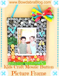 Kids Craft Mosaic Button Picture Frame- perfect for Birthday parties!