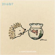"""namiharinezumi: """"937 金魚 a goldfish 8/10(水)〜16(火) 阪急うめだ10F うめだスーク 中央街区『うめだ半径1km MACHIまつり』 ハリネズミのブローチ、シロクマのピアス、ポストカードなど販売します。カナリヤさんのブースです。お近くにお越しの際はぜひ! """""""