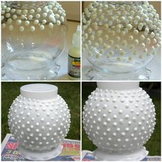 create your own hobnail milk glass with a dollar store vase, some puffy paint, and white spray paint - or any color of your choosing