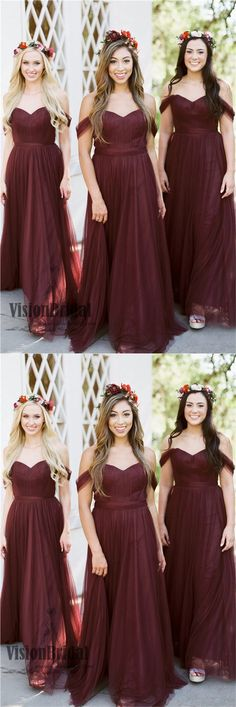 Off The Shoulder Pleating A-Line Beautiful Long Tulle Bridesmaid Dress, Bridesmaid Dresses, VB0411 #bridesmaiddress #bridesmaidsdresses