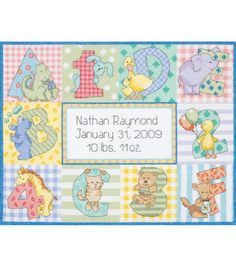 Make a cute and adorable birth record for your baby with the Ek Success Dimensions Zoo Alphabet Birth Record Counted Cross Stitch Kit 12 x 9. It has a charming design with alphabets, numbers and patte