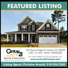 Featured Listing: 105 Peytons Ridge Drive, Hubert NC Former Builders Model Home! Highly Desirable Subdivision of Peyton's Ridge, 4 Bedrooms, a Large Bonus Room, a Loft Area, Downstairs Master, Open Floor Plan flows with Wood Flooring, Two Laundry Rooms, Screened in Back Patio, and a Fenced in Back Yard!