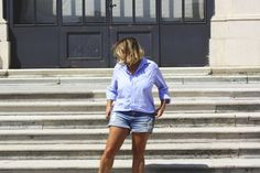 Denim shorts and shirt summer style Stevie Nicks, How To Look Classy, Distressed Denim, Denim Shorts, Plaid, Classic, Casual, Summer, Shirts