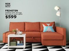 ikea orange sofa bed - Google Search