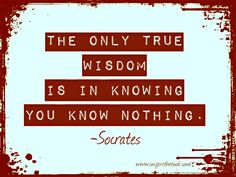 """The only true wisdom is in knowing you know nothing."" -Socrates  www.inspirethebook.com"