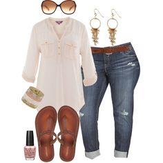 """Boyfriend Jeans & Flip Flops - Plus Size"" by alexawebb on Polyvore"