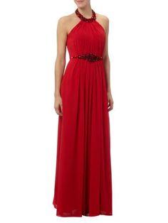 LUXUAR Abendkleid mit Collierkragen in Rot | FASHION ID Online Shop