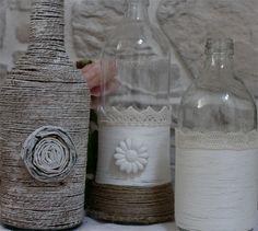 Come decorare bottiglie di vetro - How to decorate glass bottles  www.lisoladeglidei.it