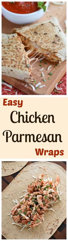 These Easy Chicken Parmesan Wraps are a super-fast, 15-minute meal! Make them ahead - they're portable and freezable, too! All the cheesy, saucy, comforting flavors of your favorite chicken parmesan casserole … yet so quick and simple! AD | www.TwoHealthy Clean Eating Recipes, Lunch Recipes, Cooking Recipes, Wrap Recipes, Dinner Recipes, Healthy Snacks, Healthy Eating, Healthy Recipes, Healthy Wraps