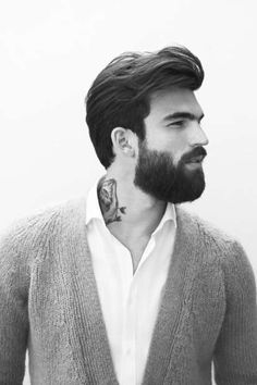 Mens style / mens fashion Dimitris Alexandrou for Zara (Man Homewear October valentino men fall 2013 Men F. Beard Styles For Men, Hair And Beard Styles, Long Hair Styles, Bart Styles, Hommes Sexy, Beard Tattoo, Moustaches, Beard No Mustache, Zara Man