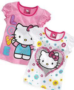 Hello Kitty Shirt, Little Girls Glitter Graphic Tee - Kids Hello Kitty - Macy's