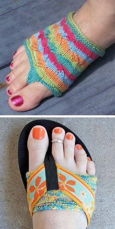 Free Knitting Pattern for Easy Flippant Thong Socks - Cute lacy little thong socks in two lengths and three sizes, to pad your toes and keep them comfortable underneath thong sandals, flip flops and all your other sandals. Designed by Sivia Harding. Pictured projects by cmspe and yarndance. Uses 40-50 yards of fingering weight yarn - great for scrap yarn. Rated easy by most Ravelrers.