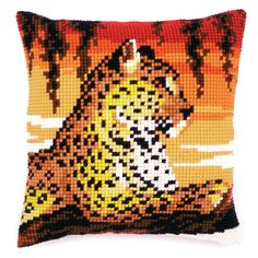 Vervaco - Cross Stitch Cushion Front Kit - Leopard