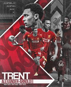 Series of sport poster design. The main goal is to show the players and football clubs they play for. Liverpool Fc Wallpaper, Liverpool Wallpapers, Ynwa Liverpool, Liverpool Players, Alexander Arnold, Best Football Team, College Football, Soccer Inspiration, Sports Graphic Design