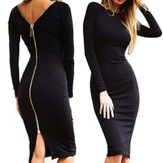 c561f34e662e Bodycon Sexy Fitted Zip Dress – Trendy Shirt Shop Sexy Dresses