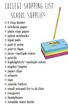 College Shopping List: School Supplies