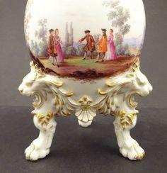 Antique Meissen Scenic Vase, Lion�s Paw Feet