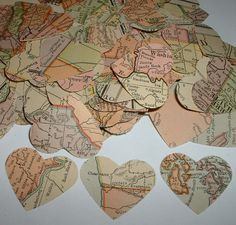 100 Antique MAP HEARTS from 1917 Atlas Lovely Punches for Table Confetti. $3.00, via Etsy.    cupcake toppers!