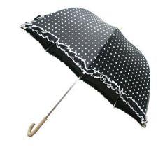Black polkadot umbrella
